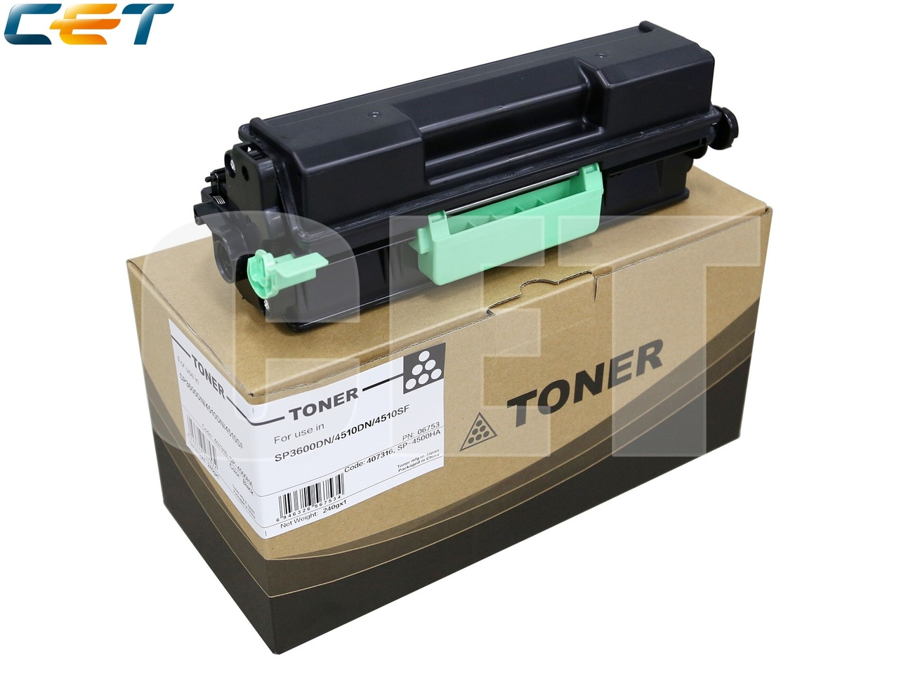 Тонер-картридж 407318 для RICOH SP4510DN/SP4510SF(CET), 240г, 12000 стр., CET6753