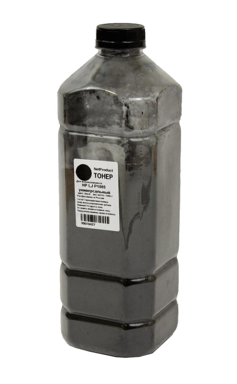 Тонер NetProduct Универсальный для HP LJ P1005, Bk, 1 кг,канистра