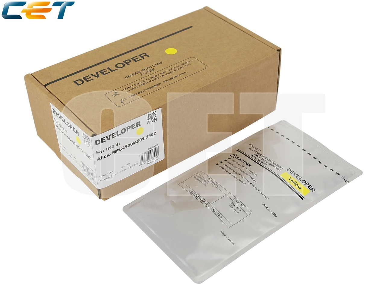 Девелопер для RICOH Aficio MPC4500/4501/5502 (CET) Yellow,225г, 160000 стр., CET8892Y
