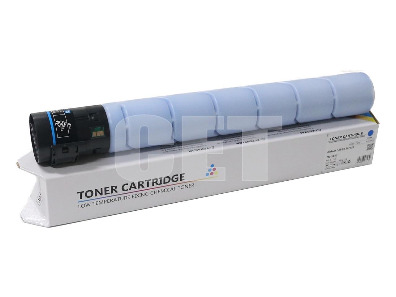 Тонер-картридж (CPT) TN-514C для KONICA MINOLTA BizhubC458/558/658 (CET) Cyan, 513г, 26000 стр., CET7793