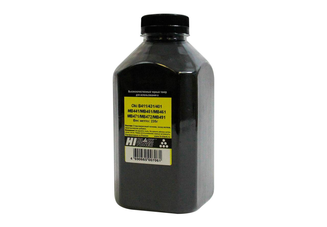 Тонер Hi-Black для OkiB411/431/401/MB441/MB451/MB461/MB471/MB472/MB491, Bk,235 г, банка