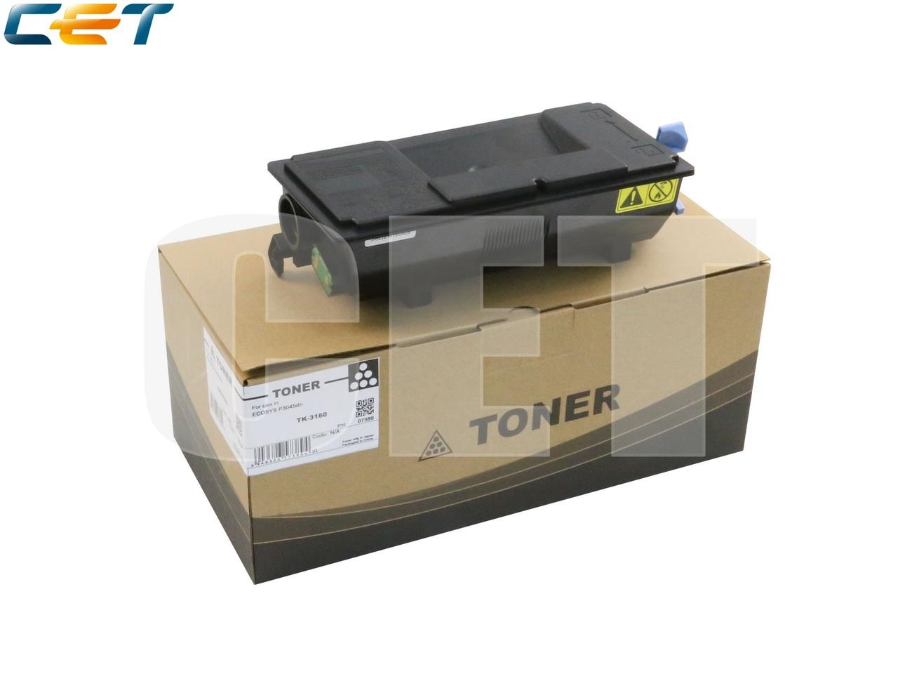 Тонер-картридж (PK9/PK10) TK-3160 для KYOCERA ECOSYSP3045dn (CET), 333г, 12500 стр., CET7389