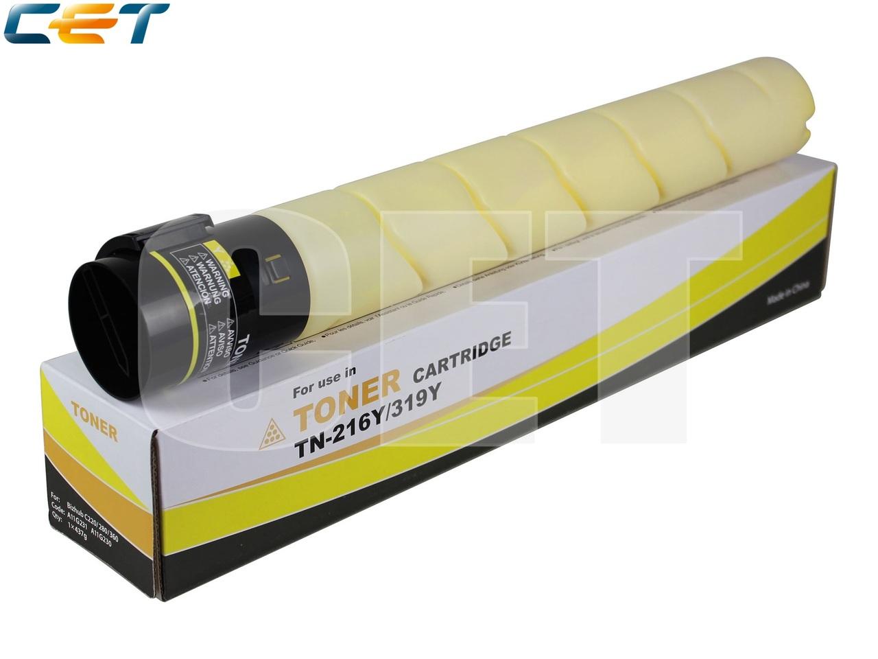 Тонер-картридж (NF5) TN-216Y/319Y для KONICA MINOLTABizhub C220/C280/C360 (CET) Yellow, 437г, 26000 стр.,CET6842